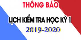 Lịch kiểm tra học kỳ 1 năm 2019-2020